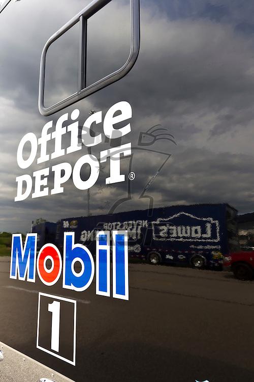 KANSAS CITY, KS - APR 19, 2012:  The Office Depot hauler waits to park  for the STP 400 at the Kansas Speedway in Kansas City, KS.