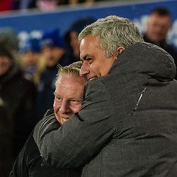 Sammy Lee and Jose Mourinho manager of Manchester United during the Premier League match between Everton and Manchester United, Goodison Park, Monday 1st January 2018<br /> (c) John Baguley | SportPix.org.uk