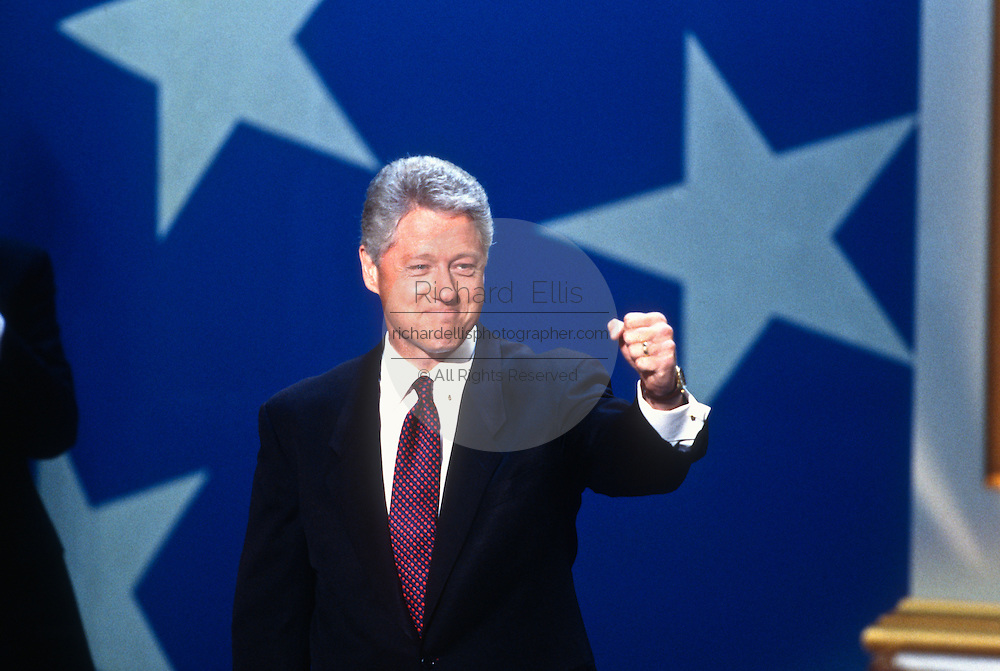 President Bill Clinton after his acceptance speech the Democratic National Convention August 29, 1996 in Chicago, IL.