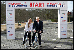 The Mayor of London Boris Johnson and Double Olympic and World Champion Laura Trott and the leader of Surrey council David Hodge  announce the Offical RideLondon sponsor and reveal the route of the RideLondon-Surrey classic, Thursday February 7, 2013.Photo By Andrew Parsons / Parsons Media