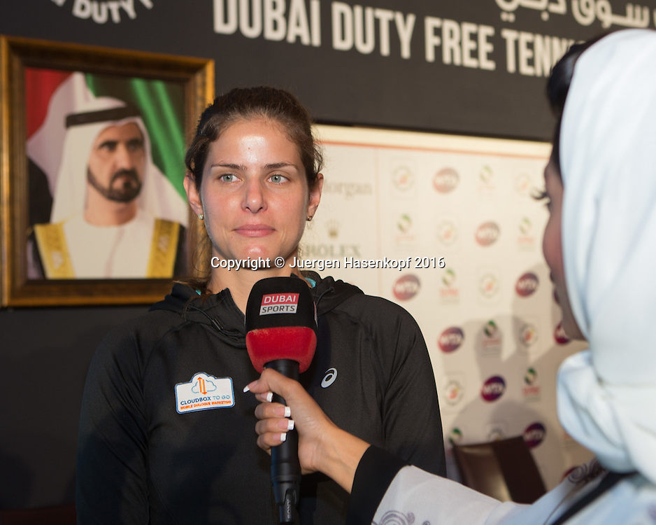 Julia Goerges (GER) gibt ein TV Interview,Pressekonferenz<br /> <br /> Tennis - Dubai Tennis Championships 2016 -  WTA -  Dubai Duty Free Tennis Stadium - Dubai  -  - United Arab Emirates  - 13 February 2016.