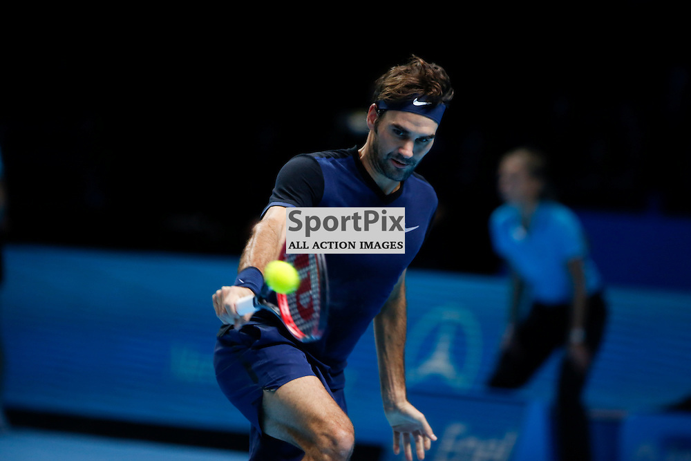 Roger Federer's backhand during a semi-final match between Roger Federer and Stan Wawrinka at the ATP World Tour Finals 2015 at the O2 Arena, London.  on November 21, 2015 in London, England. (Credit: SAM TODD | SportPix.org.uk)