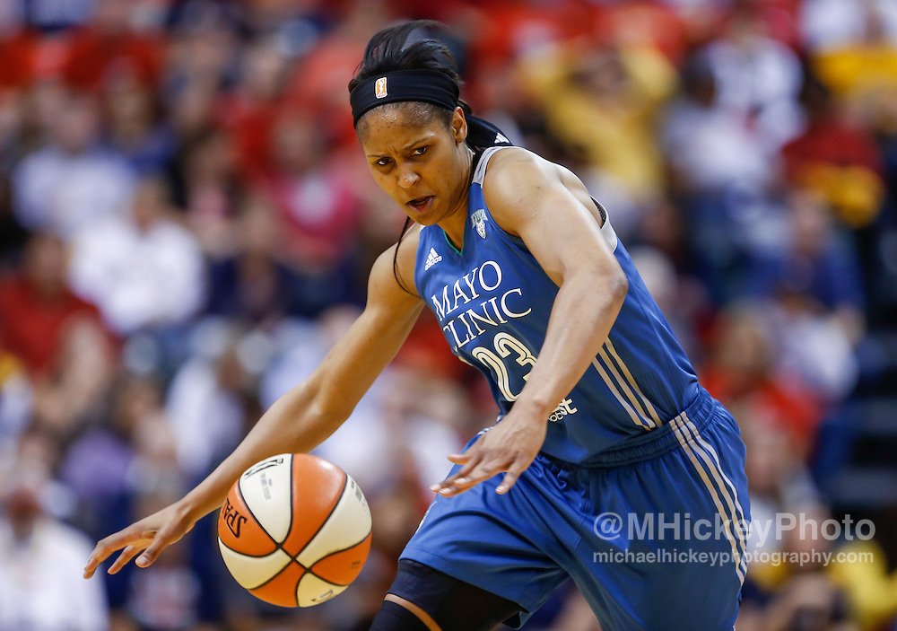 INDIANAPOLIS, IN - OCTOBER 11: Maya Moore #23 of the Minnesota Lynx chases down a loose ball against the Indiana Fever at Bankers Life Fieldhouse on October 11, 2015 in Indianapolis, Indiana. NOTE TO USER: User expressly acknowledges and agrees that, by downloading and or using this photograph, User is consenting to the terms and conditions of the Getty Images License Agreement. (Photo by Michael Hickey/ Getty Images) *** Local Caption *** Maya Moore