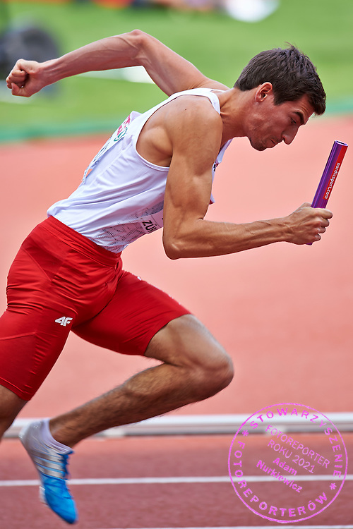 Rafal Omelko from Poland competes in Men's Relay 4 x 400 meters final during the Sixth Day of the European Athletics Championships Zurich 2014 at Letzigrund Stadium in Zurich, Switzerland.<br /> <br /> Switzerland, Zurich, August 17, 2014<br /> <br /> Picture also available in RAW (NEF) or TIFF format on special request.<br /> <br /> For editorial use only. Any commercial or promotional use requires permission.<br /> <br /> Photo by &copy; Adam Nurkiewicz / Mediasport