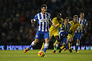 Brighton striker, Tomer Hemed (10) scores a goal from the penalty spot to make it 1-0 during the Sky Bet Championship match between Brighton and Hove Albion and Leeds United at the American Express Community Stadium, Brighton and Hove, England on 29 February 2016.
