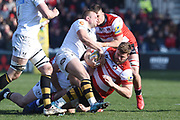 Gloucester lock /back row Ed Slater is tackled during the Aviva Premiership match between Gloucester Rugby and Wasps at the Kingsholm Stadium, Gloucester, United Kingdom on 24 February 2018. Picture by Alan Franklin.