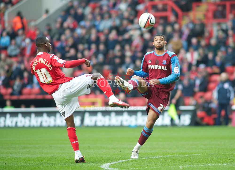 LONDON, ENGLAND - Saturday, March 5, 2011: Tranmere Rovers' Joss Labadie and Charlton Athletic's Bradley Wright-Phillips during the Football League One match at The Valley. (Photo by Gareth Davies/Propaganda)