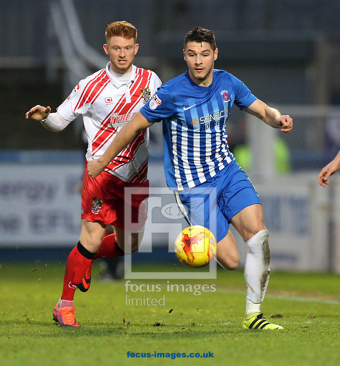 Brad Walker (r) of Hartlepool United and Dale Gorman of Stevenage during the Sky Bet League 2 match at Victoria Park, Hartlepool<br /> Picture by Simon Moore/Focus Images Ltd 07807 671782<br /> 21/01/2017