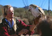 "350130-1008 ~ Copyright: George H. H. Huey ~  Ornithologist, Sue Tygielski,  holding a feeding barn owl [part of the ""free flight program""]. Arizona-Sonora Desert Museum, Tucson, Arizona."