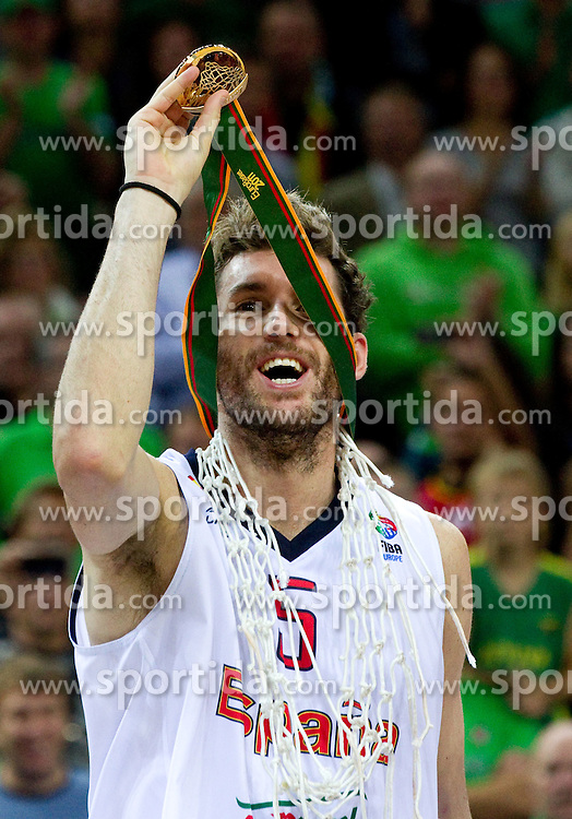 Rudy Fernandez of Spain celebrates at medal ceremony after the final basketball game between National basketball teams of Spain and France at FIBA Europe Eurobasket Lithuania 2011, on September 18, 2011, in Arena Zalgirio, Kaunas, Lithuania. Spain defeated France 98-85 and became European Champion 2011, France placed second and Russia third. (Photo by Vid Ponikvar / Sportida)