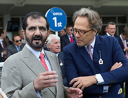 Sheikh Mohammed bin Rashid Al Maktoum and Lord March on the second day of Glorious Goodwood<br /> London, United Kingdom,<br /> Wednesday, 31st July 2013<br /> Picture by i-Images