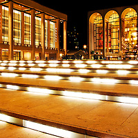 Nightshot of Lincoln Center with David H. Koch Theater and Metropolitan Opera House. Manhattan, New York City.