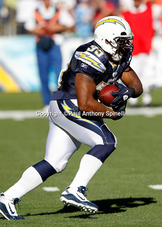 San Diego Chargers fullback Mike Tolbert (35) runs the ball during the NFL week 14 football game against the Kansas City Chiefs on Sunday, December 12, 2010 in San Diego, California. The Chargers won the game 31-0. (©Paul Anthony Spinelli)