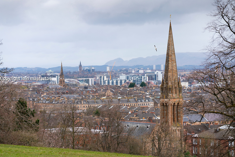 Skyline view of Glasgow from Queens Park in south side of Glasgow, Scotland UK