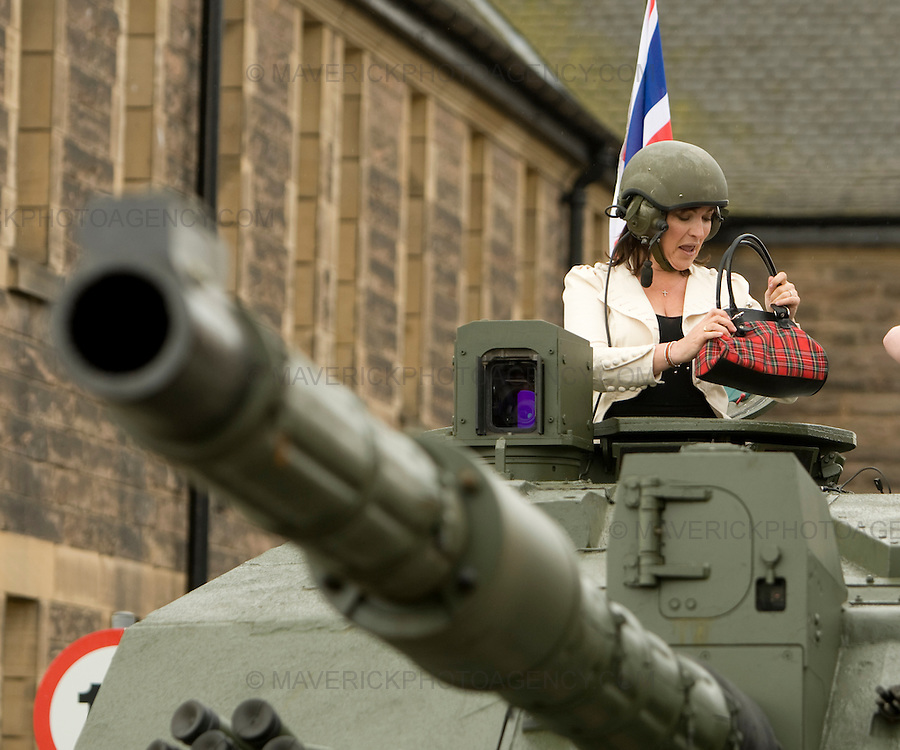 Lorraine Kelly arrives  Edinburghs Redford Barracks  today to drive a Tank and chat with the Army and Navy to launch the full program of scottish events for the first ever UK Armed forces day..Picture Michael Hughes/Maverick ...