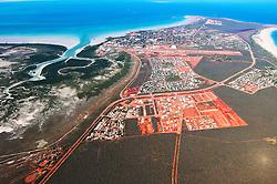 Aerial view of Broome, Western Australia, looking over Roebuck Bay.