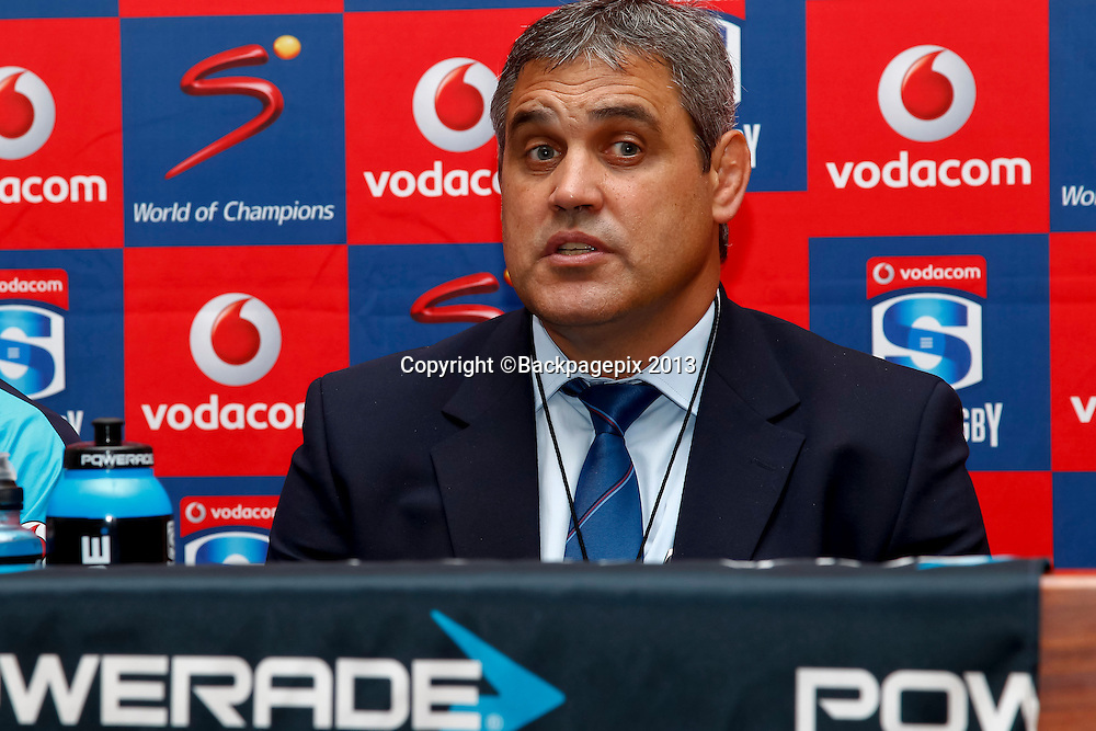 Frans Ludeke, Coach of the Vodacom Bulls during the match between Southern Kings and the Mr Blue Bulls on the 20 April 2013 at the Nelson Mandela Bay Stadium © Michael Sheehan