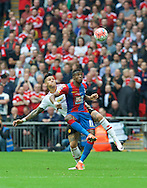 Marcos Rojo of Manchester United challenges Wilfried Zaha of Crystal Palace during the FA Cup Final at Wembley Stadium, London<br /> Picture by Alan Stanford/Focus Images Ltd +44 7915 056117<br /> 21/05/2016