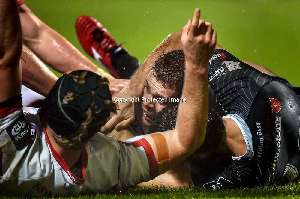 Guinness PRO12, Kingspan Stadium, Belfast 21/11/2014<br /> Ulster vs Ospreys<br /> Ulster's Darren Cave scores their first try<br /> Mandatory Credit &copy;INPHO/Presseye/Russell Pritchard