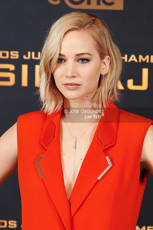 Jennifer Lawrence attended the 'Hunger Games: Mockingjay Part 2' Photocall at Villamagna Hotel on November 10, 2015 in Madrid