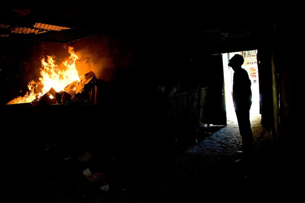 Garbage fire in Dardania Underground...Pristina, Kosovo, Serbia