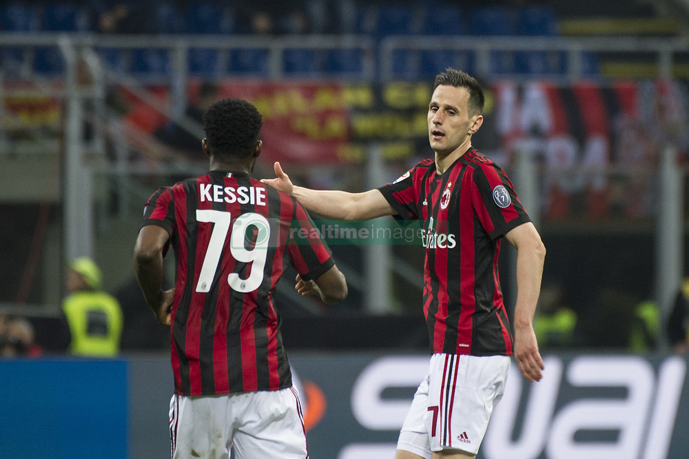 April 8, 2018 - Milan, Milan, Italy - 8th April 2018, San Siro, Milan, Italy; Serie A football, AC Milan versus US Sassuolo; Nikola Kalinic of AC Milan celebrate the goal with Franck Kessie of Ac Milan (Credit Image: © Gaetano Piazzolla/Pacific Press via ZUMA Wire)