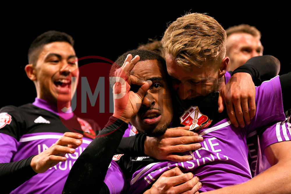 Nathan Byrne of Swindon Town celebrates after scoring his sides second goal making it 1-2 - Photo mandatory by-line: Matt McNulty/JMP - Mobile: 07966 386802 - 07/05/2015 - SPORT - Football - Sheffield - Bramall Lane - Sheffield United v Swindon Town - Sky Bet League One