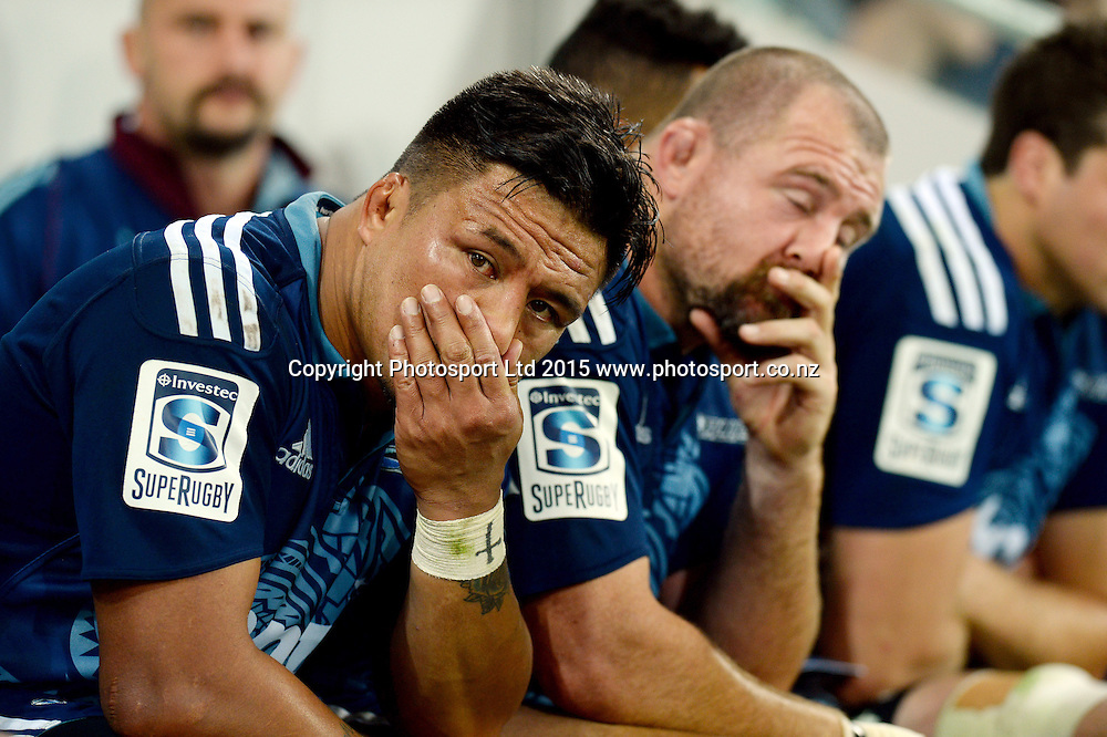 Bench (Blues)<br /> Auckland Blues vs Melbourne Rebels<br /> Rugby Union - 2015 Investec Super Rugby <br /> AAMI Park, Melbourne Australia<br /> Friday 8th May 2015<br /> &copy; Sport the library / Jeff Crow