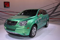 11 February 2009: Saturn VUE Plug-in Concept.  This vehicle is expected to be the first regular production plug-in hybrid electric vehicle. Depending on a consumer's drive cycle, the Vue plug-in hybrid will be the most fuel-efficient vehicle offered by a major automaker..This Vue Green Line will use a modified version of GM's two-mode hybrid system and plug-in technology, a lithium-ion battery pack, highly efficient electronics and powerful electric motors to achieve significant increases in fuel economy. When the lithium-ion batteries are fully charged, the Vue plug-in hybrid will potentially double the fuel efficiency of any current SUV. After electric-only propulsion depletes the lithium-ion energy storage system to a specified level, the battery is replenished by utilizing the two-mode hybrid system's electric motors and regenerative brake systems.. The Chicago Auto Show is a charity event of the Chicago Automobile Trade Association (CATA) and is held annually at McCormick Place in Chicago Illinois.