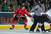 KELOWNA, CANADA - APRIL 7: Brendan De Jong #21 of the Portland Winterhawks skates against the Kelowna Rockets on April 7, 2017 at Prospera Place in Kelowna, British Columbia, Canada.  (Photo by Marissa Baecker/Shoot the Breeze)  *** Local Caption ***