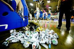 Fans of Olimpija throwed trash to the court at Euroleague basketball match in 6th Round of Group C between KK Union Olimpija and Maccabi Tel Aviv, on December 3, 2009, in Arena Tivoli, Ljubljana, Slovenia. (Photo by Vid Ponikvar / Sportida)