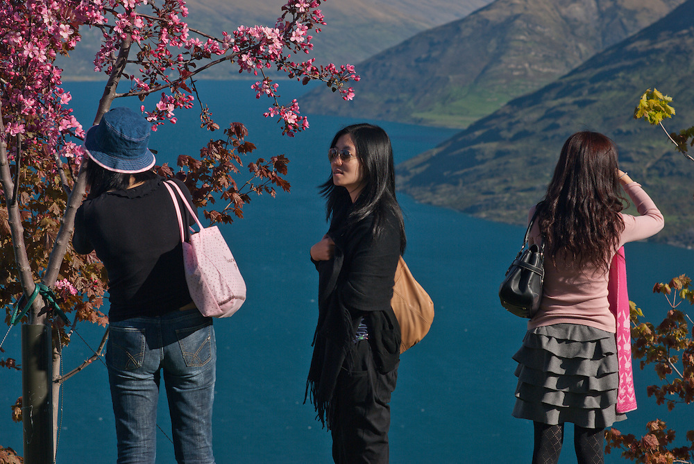 Three Asian tourists photographing tree blossom overlooking Lake Wakatipu, Queenstown, New Zealand