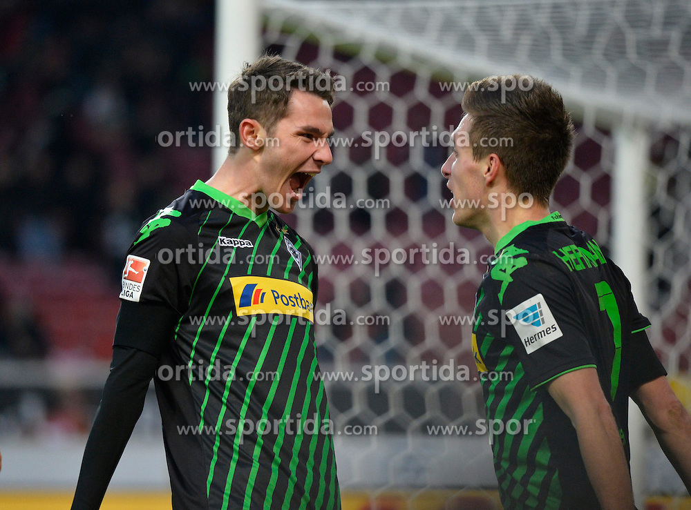 31.01.2015, Mercedes Benz Arena, Stuttgart, GER, 1. FBL, VfB Stuttgart vs Borussia Moenchengladbach, 18. Runde, im Bild <br /> TOR zm 0:1 durch Patrick Herrmann Borussia Moenchengladbach Torjubel, Jubel, Freude, Emotion mit Branimir Hrgota Borussia Moenchengladbach (links) // during the German Bundesliga 18th round match between VfB Stuttgart and Borussia Moenchengladbach at the Mercedes Benz Arena in Stuttgart, Germany on 2015/01/31. EXPA Pictures &copy; 2015, PhotoCredit: EXPA/ Eibner-Pressefoto/ Weber<br /> <br /> *****ATTENTION - OUT of GER*****