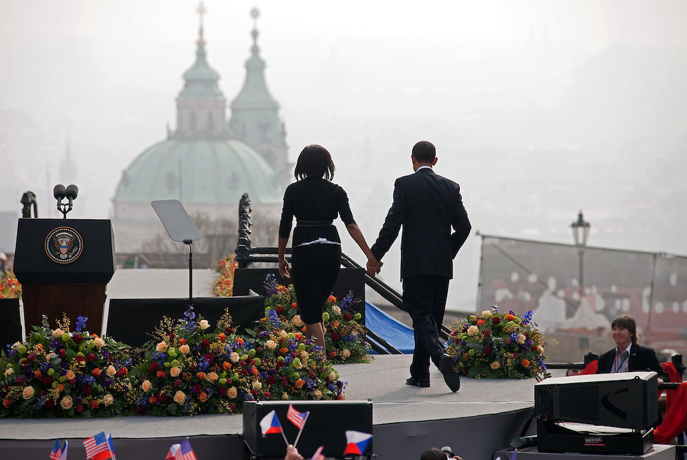 The President of the United States Barack Obama with his wife Michelle Obama after his speech which took place on Sunday the 5th of April at Hradcanske square in front of Prague castle in Czech Republic.