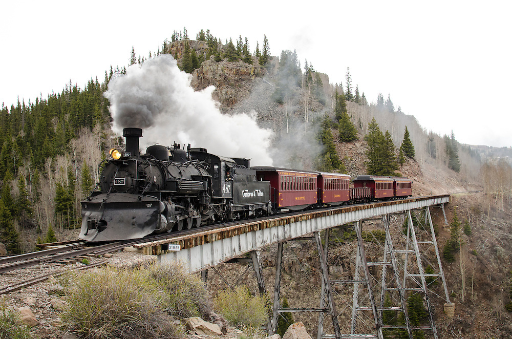 The Historic Cumbres & Toltec crossing the Cascade Creek Trestle. This train line has been made famous in recent years through films, including such favorites as Butch Cassidy & the Sundance Kid, and Indiana Jones & the Last Crusade.