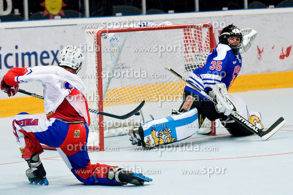 Ziga Jeglic scores a goal at IIHF In-Line Hockey World Championships Top Division match for 5th place between National teams of Slovenia and Finland on July 3, 2010, in Karlstad, Sweden. (Photo by Matic Klansek Velej / Sportida)