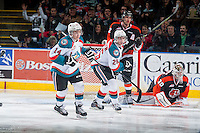KELOWNA, CANADA - JANUARY 10: Rourke Chartier #14 and Cole Linaker #26 of Kelowna Rockets skate against the Medicine Hat Tigers on January 10, 2015 at Prospera Place in Kelowna, British Columbia, Canada.  (Photo by Marissa Baecker/Shoot the Breeze)  *** Local Caption *** Rourke Chartier; Cole Linaker;