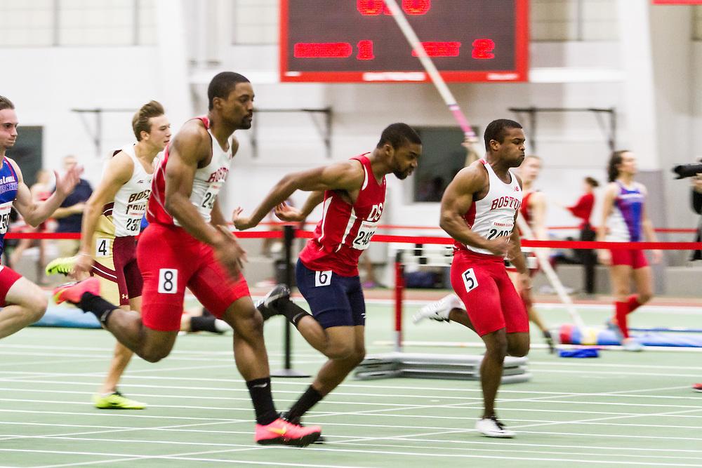 Boston University Multi-team indoor track & field, men 60 meter prelim, heat 2, BU, 2423