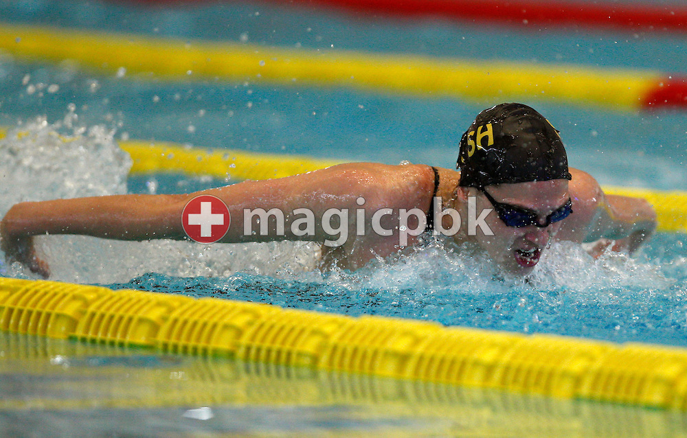 SCSH's Marina RIBI of Switzerland swims the Butterfly leg in the women's 200m Individual Medley (IM) Final during the Swiss Swimming Championships at the Piscine des Vernets in Geneva, Switzerland, Sunday, April 3, 2011. (Photo by Patrick B. Kraemer / MAGICPBK)