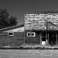 Old abandoned building on street in Cavalier County USA