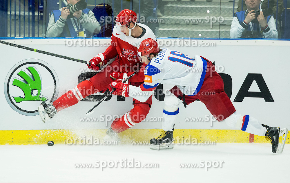 Markus Lauridsen of Denmark vs Sergei Plotnikov of Russia during Ice Hockey match between Russia and Denmark at Day 6 in Group B of 2015 IIHF World Championship, on May 6, 2015 in CEZ Arena, Ostrava, Czech Republic. Photo by Vid Ponikvar / Sportida