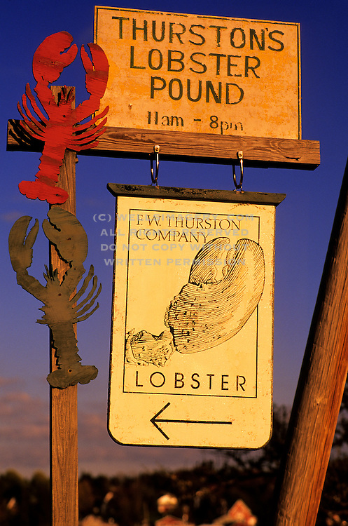 Image of Thurston's Lobster Pound restaurant sign, famous for its lobster in the town of Bernard on Mount Desert Island, Maine, American Northeast