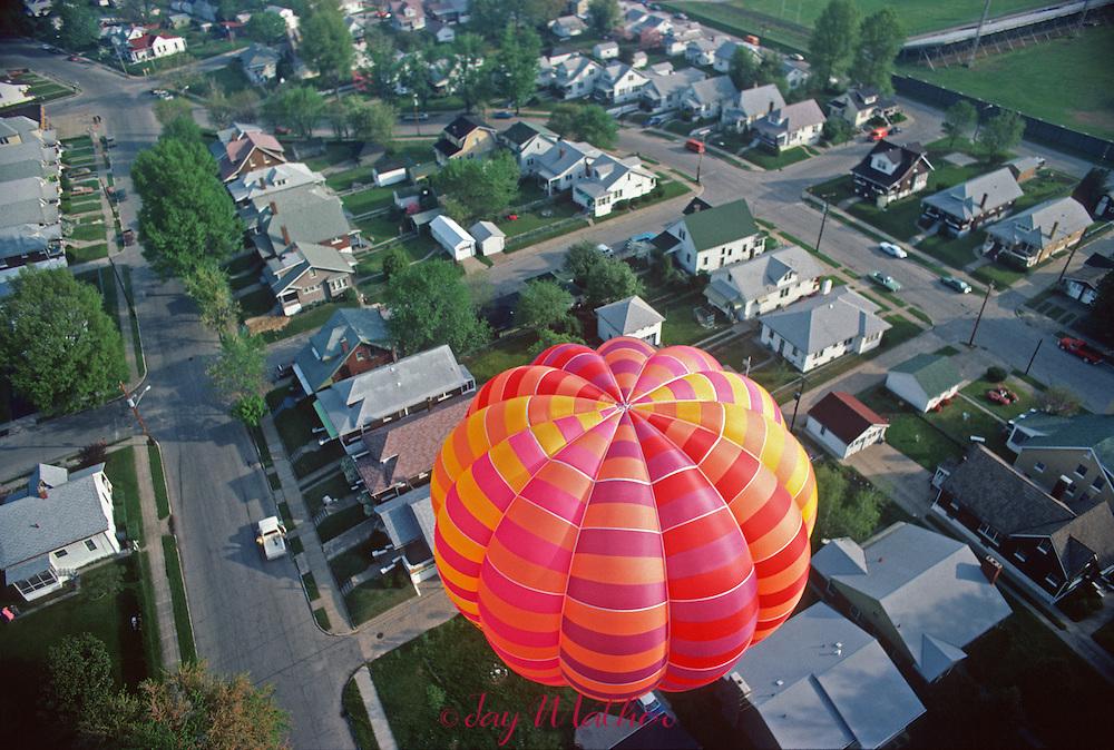 Kentucky Derby balloon race.  Balloon over a neighborhood adjacent to Standiford Field.