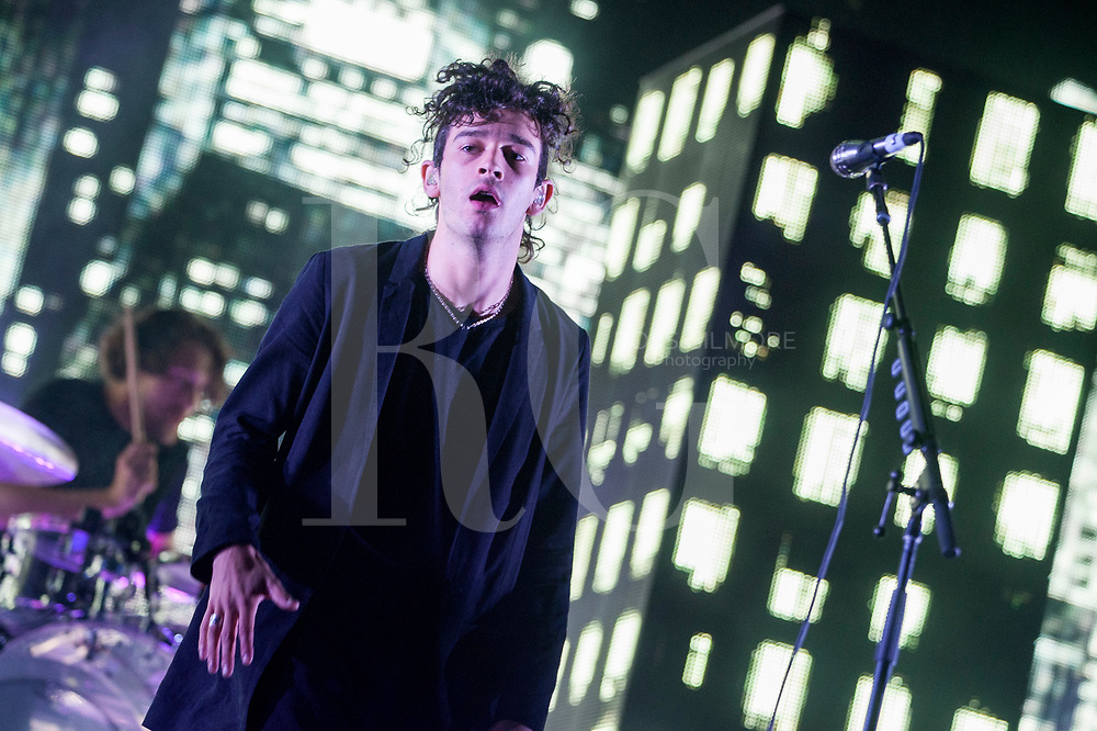 Matthew Healy of The 1975 performs on Day 2 of the T in the Park festival at Strathallan Castle on July 09, 2016 in Perth, Scotland. (Photo by Ross gilmore)