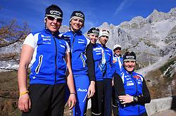 Slovenian team of nordic skiing: Barbara Jezersek, Katja Visnar, Vesna Fabjan, Nejc Brodar, Ivan Hudac and Petra Majdic at practice of Slovenian Cross country National team before new season 2008/2009, on October 22, 2008, glacier Dachstein, Ramsau, Austria. (Photo by Vid Ponikvar / Sportida).
