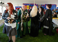 Voldemort on Vacation -Thomas Forrister of Salem, MA works his way through the crowd at Misti Con 2015 held at the Margate Resort on Saturday afternoon.   (Karen Bobotas/for the Laconia Daily Sun)