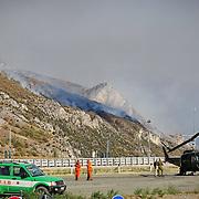 In Valsusa  continua l'emergenza incendi, per il forte vento gli elicotteri sono rimasti fermi nel piazzale dell'autoporto di Susa 27/10/2017