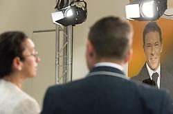 28.05.2014, BZOe Pressesaal, Wien, AUT, BZOe, Pressekonferenz zum Thema: Zukunft des BZOe. im Bild Portrait des ehemaligen Parteiobmanns Joerg Haider, im Vordergrund Angelika Werthmann und Gerald Grosz // Portrait of Joerg Haider behind Angelika Werthmann and Gerald Grosz during BZOe press conference about the future of BZOe at BZOe Pressroom in Vienna, Austria on 2014/05/28. EXPA Pictures © 2014, PhotoCredit: EXPA/ Michael Gruber