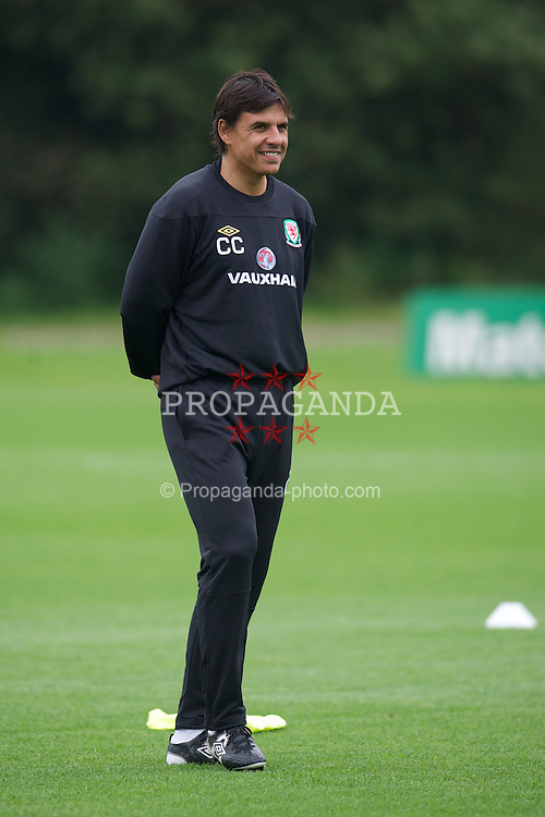 CARDIFF, WALES - Monday, September 3, 2012: Wales' manager Chris Coleman during a training session at the Vale of Glamorgan ahead of the Brazil 2014 FIFA World Cup Qualifying Group A match against Belgium. (Pic by David Rawcliffe/Propaganda)