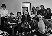 U2 - Paulo Hewitt, Larry Mullen, Neil Storey, Adam Clayton, Paul McGuiness  and friends - backstage  Chicago USA tour - 1981